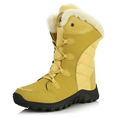 Winter Fur Womens Snow Boots Faux Leather Outdoor Hiking Lace Ankle Bootie For Women