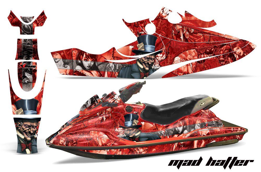 1996 – 1999 Seadoo GSX Limited AMRRACINGジェットスキーグラフィックデカールキット – Mad Hatter – silver-red   B01C1WWEBW