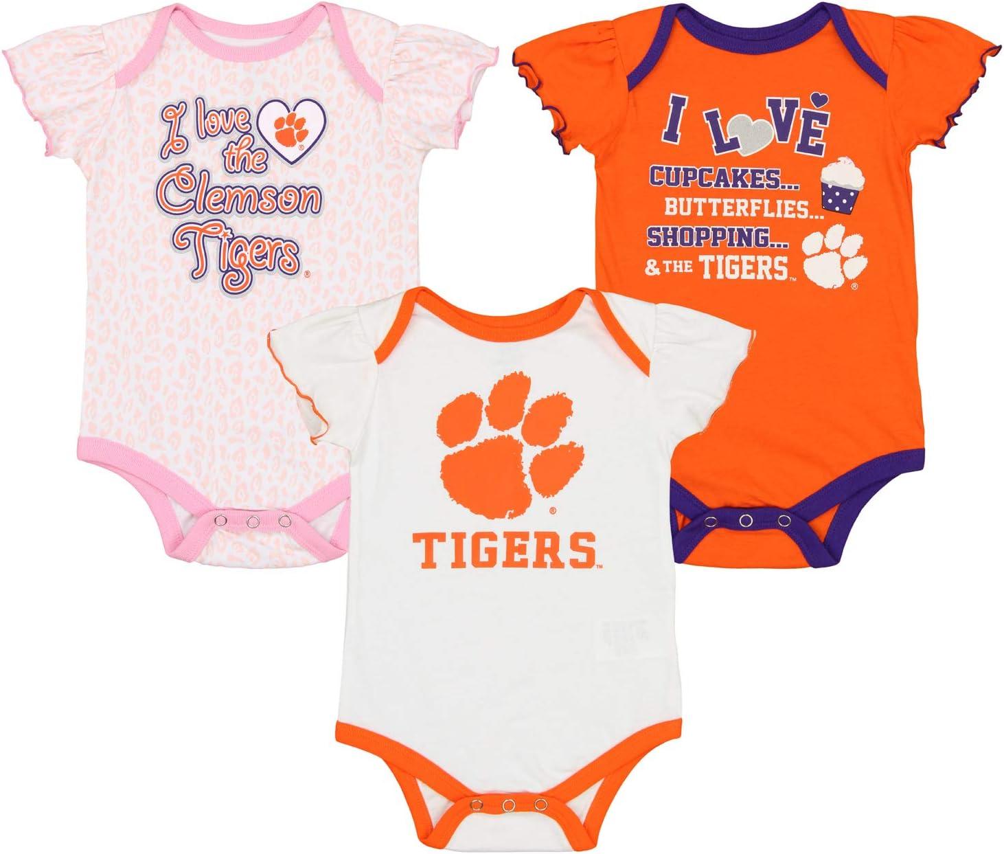 0M-9M 12M-24M Outerstuff NCAA Newborn Girls Three Piece Creeper Set Clemson Tigers 12 Months Infant
