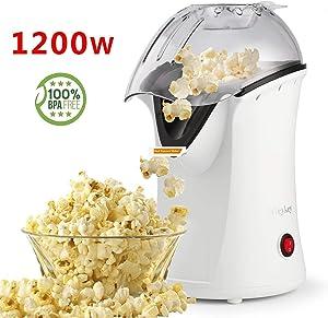 Popcorn Maker, Popcorn Machine, 1200W Hot Air Popcorn Popper Healthy Machine No Oil Needed