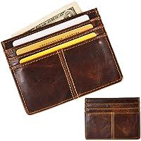 Le'aokuu Genuine Leather Magnet Money Clip Credit Card Case Holder Front Pocket Slim Wallet