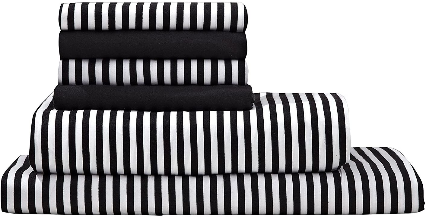 Virah Bella Debra Valencia Awning Striped Sheets by Duke-Full Size-Black/White-6 Pc Set 2 Bonus Pillowcases!