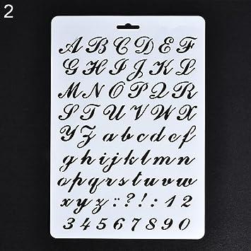 Lettre Alphabet Nombre Creux Pochoirs Peinture Scrapbooking Cartes De Visite Papier Craft Amesii N2