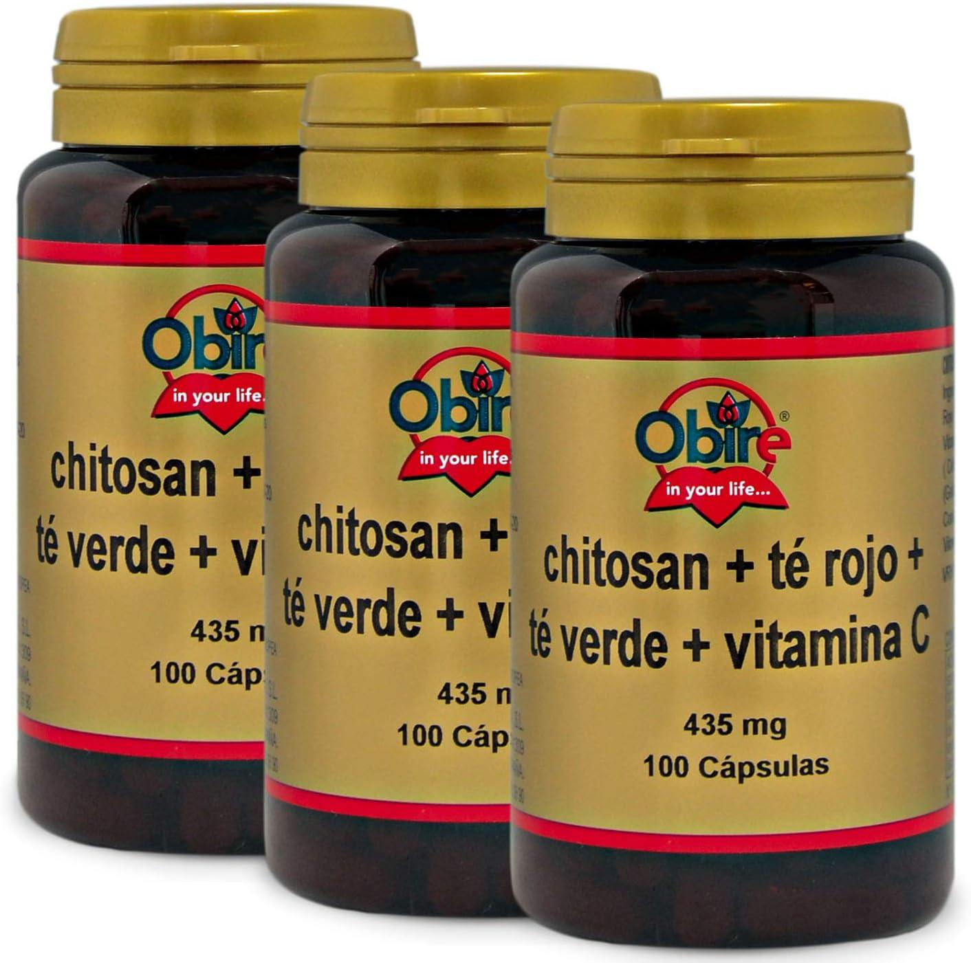 Chitosán + té rojo + té verde + C. 100 capsulas (Pack 2 unid ...