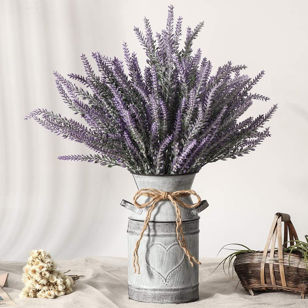 LESING Artificial Lavender Flowers with Vase Fake Lavender Plants in Decorative Metal Vase Rustic Vintage Flowers for Home Farmhouse Decoration (Heart,Purple)