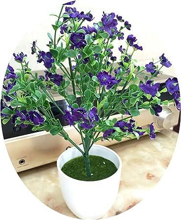 Elibone Flores Artificiales pequeñas macetas Bonsai Moda Oficina Jardín Decoración Simulación Planta Hogar Fiesta Exhibidor Flores: Amazon.es: Hogar