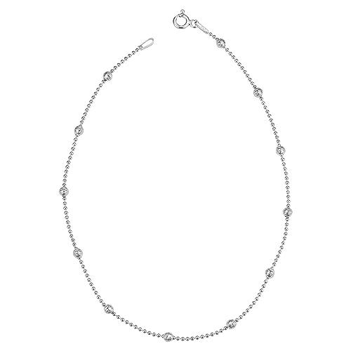 Amazon.com: Plata de ley de alta polaco y Diamond-Cut Bead ...