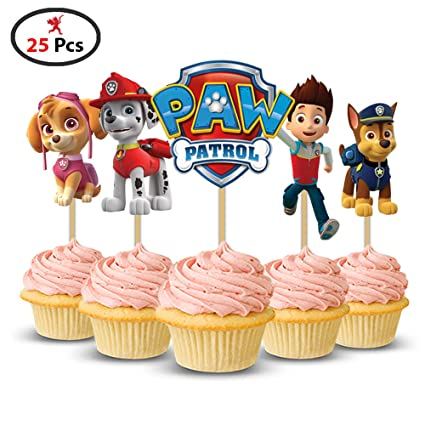 Party PropzTM Paw Patrol Cup Cake Topper Set Of 25 Pieces Birthday
