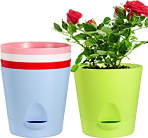 Self Watering Pots,Laerjin 5 Pack 6.7 Inch African Violet Pots with High Drainage Deep Reservoir, Self Watering Planter for Indoor Plants,Ocean Spider Plant, Orchid