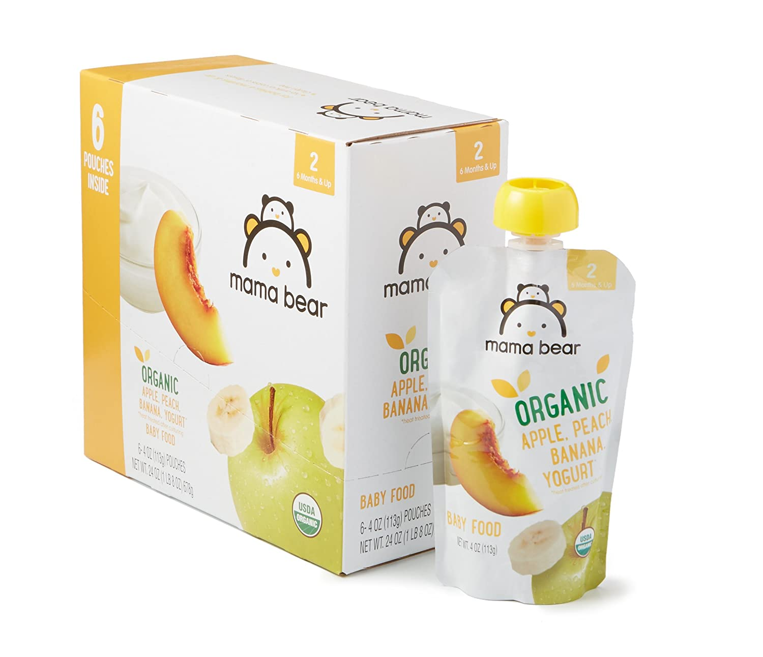 Amazon Brand - Mama Bear Organic Baby Food, Stage 2, Apple Peach Banana Yogurt