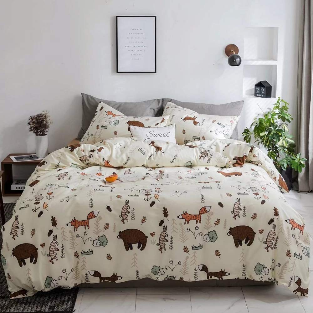 CLOTHKNOW Yellow Bear Duvet Cover Sets Rabbit Queen Boys Fox Woodland Theme Bedding Sets Full Girls Gift 100 Cotton Set of 3-1 Duvet Cover with Zipper Closure 2 Envelope Pillowcases by CLOTHKNOW