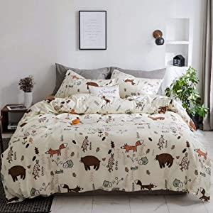CLOTHKNOW Yellow Bear Duvet Cover Sets Rabbit Queen Boys Fox Woodland Theme Bedding Sets Full Girls Gift 100 Cotton Set of 3-1 Duvet Cover with Zipper Closure 2 Envelope Pillowcases