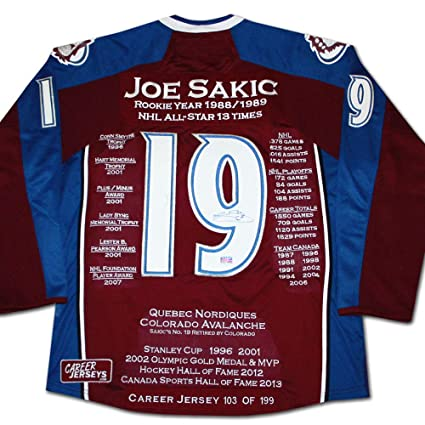 los angeles 71a19 24eba Joe Sakic Career Jersey - Autographed - LTD ED 199 ...