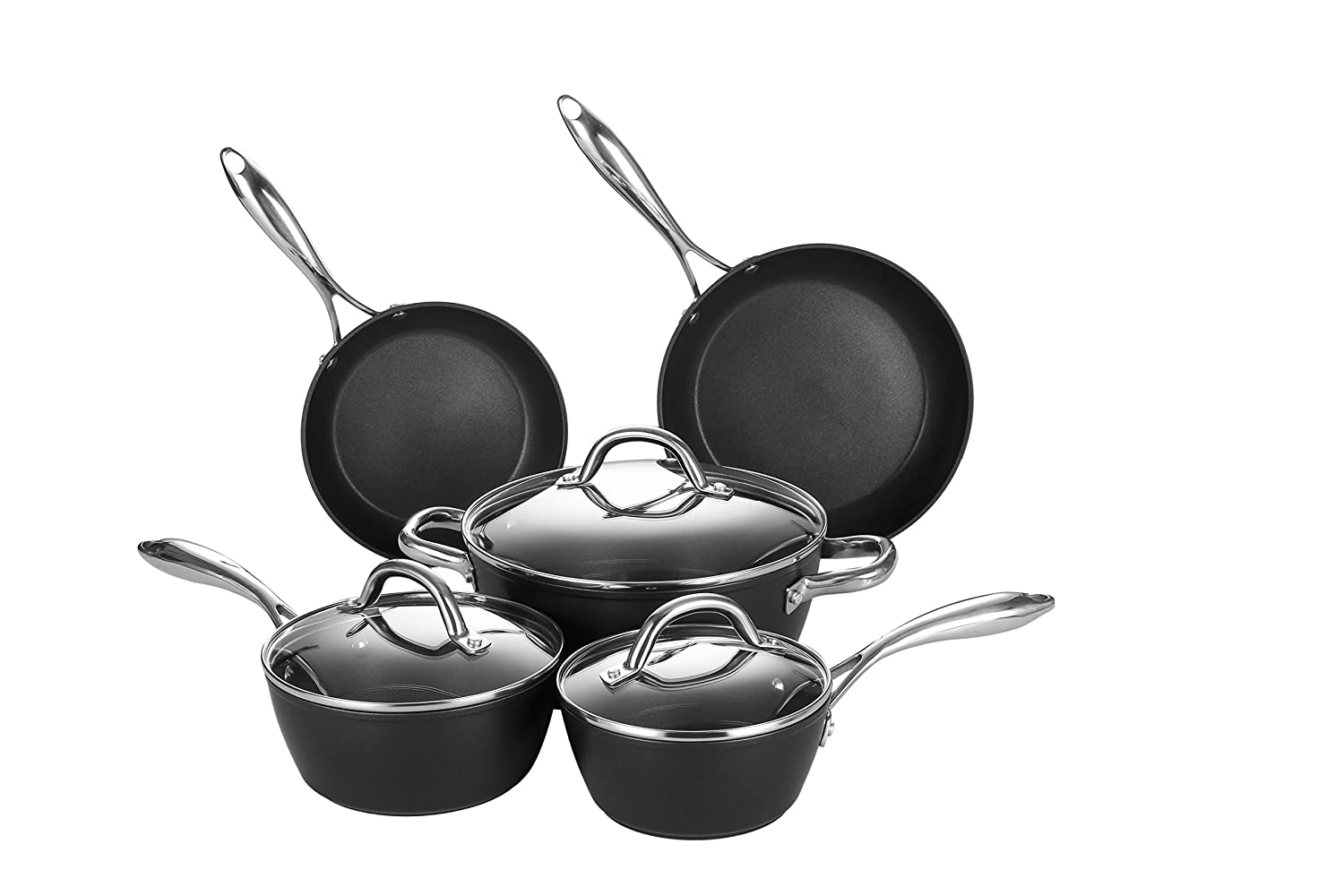 Forged Nonstick Pots and Pans Cookware Set, Stainless Steel Handles, Induction Ready, Dishwasher and Oven Safe, Fast Heating, Anti-Warp Base, 8-Piece by COOKER KING