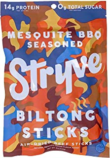 product image for Stryve Mini Snack Beef Sticks. 14g Protein, Sugar Free, No Carbs, Gluten Free, No Nitrates, No MSG, No Preservatives. Keto and Paleo Friendly. Mesquite BBQ, 8oz