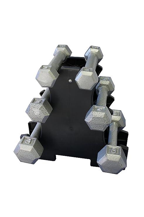Ader hexagonal hierro fundido gris juego de mancuernas, 3.5.8 LB +RACK