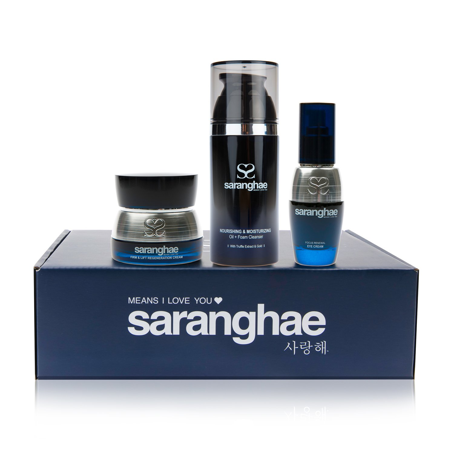 Saranghae Essentials Bundle: Nourishing and Moisturizing Cleanser, Firm and Lift Regeneration Cream, Focus Renewal Eye Cream - Korean Skin Care with an Intense Focus On Healing and Repairing