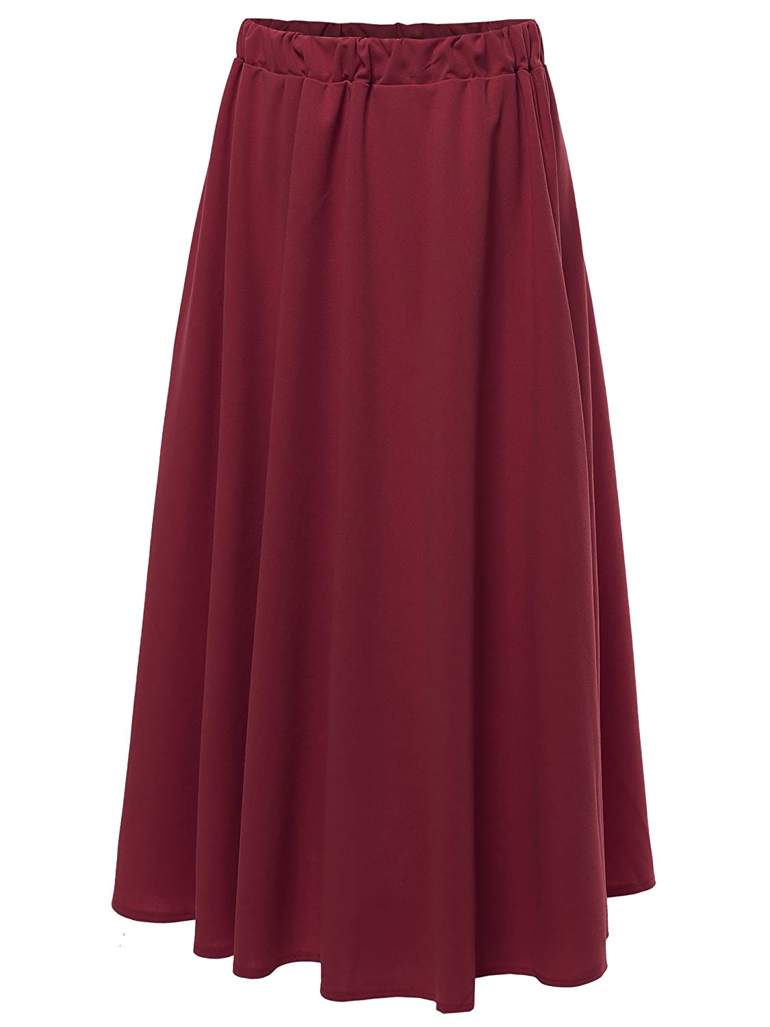 Aawskm0004 Burgundy Awesome21 Women's Solid High Waist ALine Pleated Flare Skirt  Made in USA