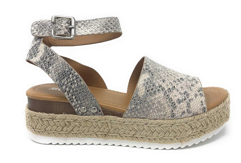 b069bb3c33a SODA Women's Open Toe Ankle Strap Espadrille Sandal