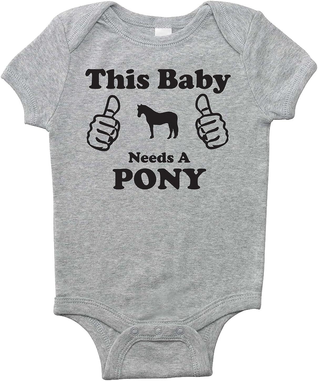 Equestrian Creations Este bebé necesita un poni: mono de caballo de manga corta para bebés, niños, niñas y sorpresas (gris jaspeado, 6 meses)