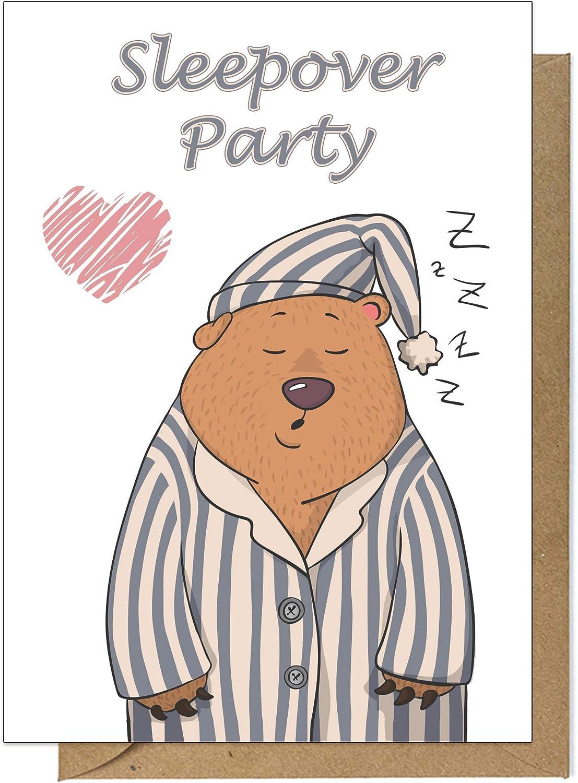 15 Einladungskarten Kindergeburtstag Sleepover Party 15 Karten mit 15 passenden Umschl/ägen Briefumschl/ägen /Übernachtungsparty Geburtstagseinladungen Einladungen Geburtstag Kinder M/ädchen