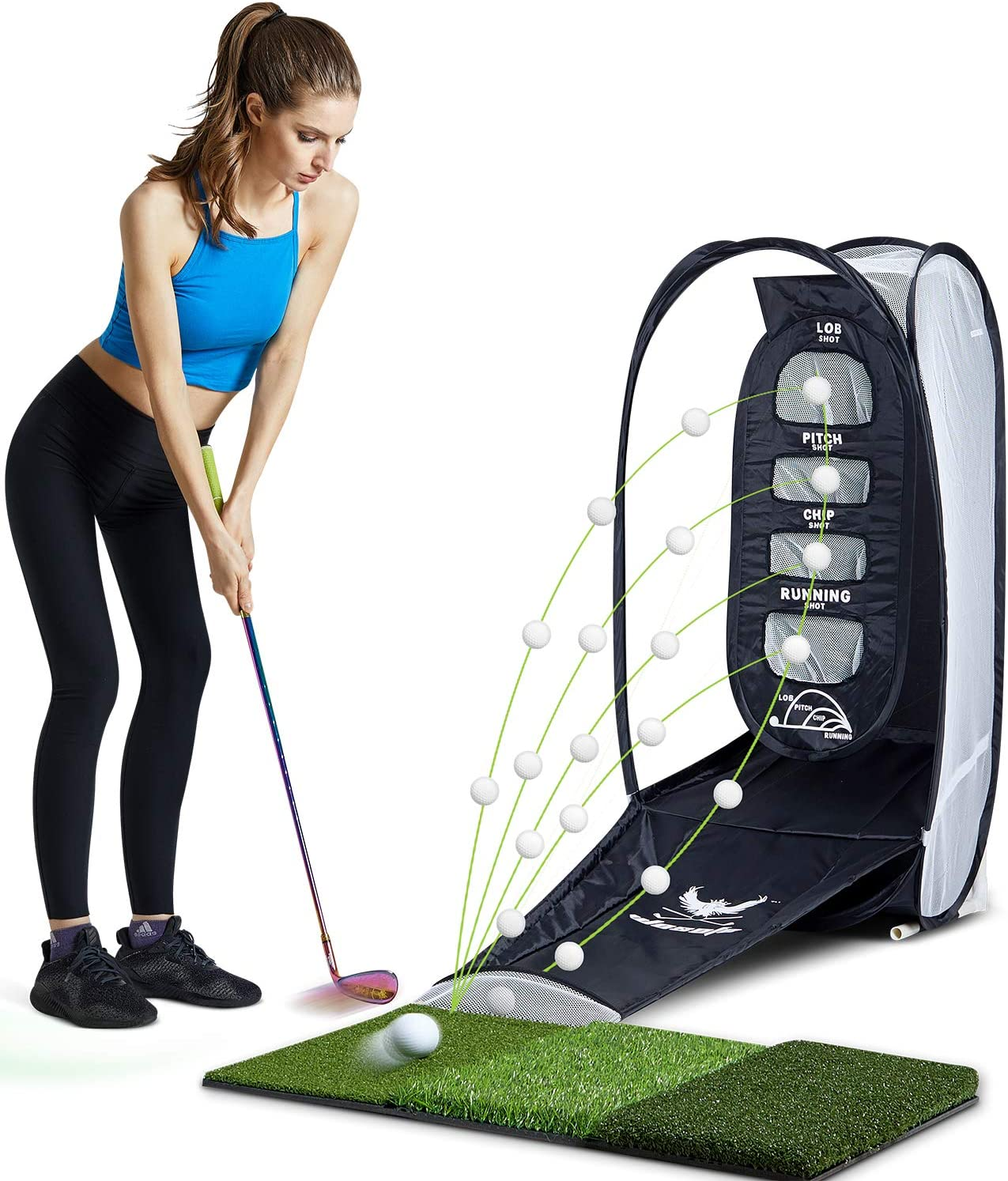 wosofe Golf Practice Hitting Net Indoor Backyard Home Chipping 2 Target and Ball Swing Training Aids
