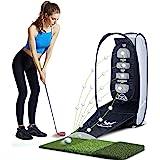 wosofe Golf Hitting Net Practice Target Chipping Netting Indoor Training Swing Golfing Mat at Backyard Golf Collapsible Net