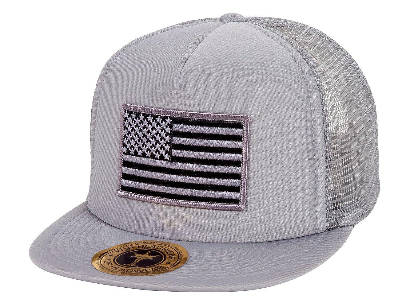 6081b4c9e011df TOP HEADWEAR USA Flag Flat Bill Trucker Mesh Hat - Grey at Amazon Men's  Clothing store: