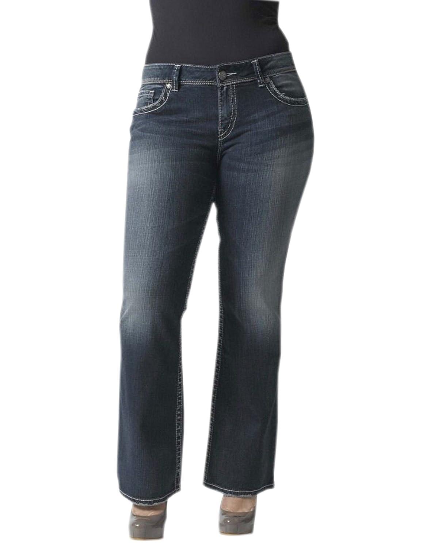 Silver Jeans Women's Junior's Plus Suki Midrise Plus Bootcut Dark ...