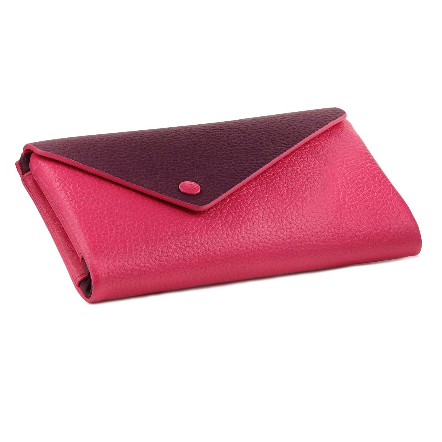 OTTO Genuine Leather Envelope Wallet with Phone Compatible Slots - RFID Blocking - Unisex (Purple & Pink)