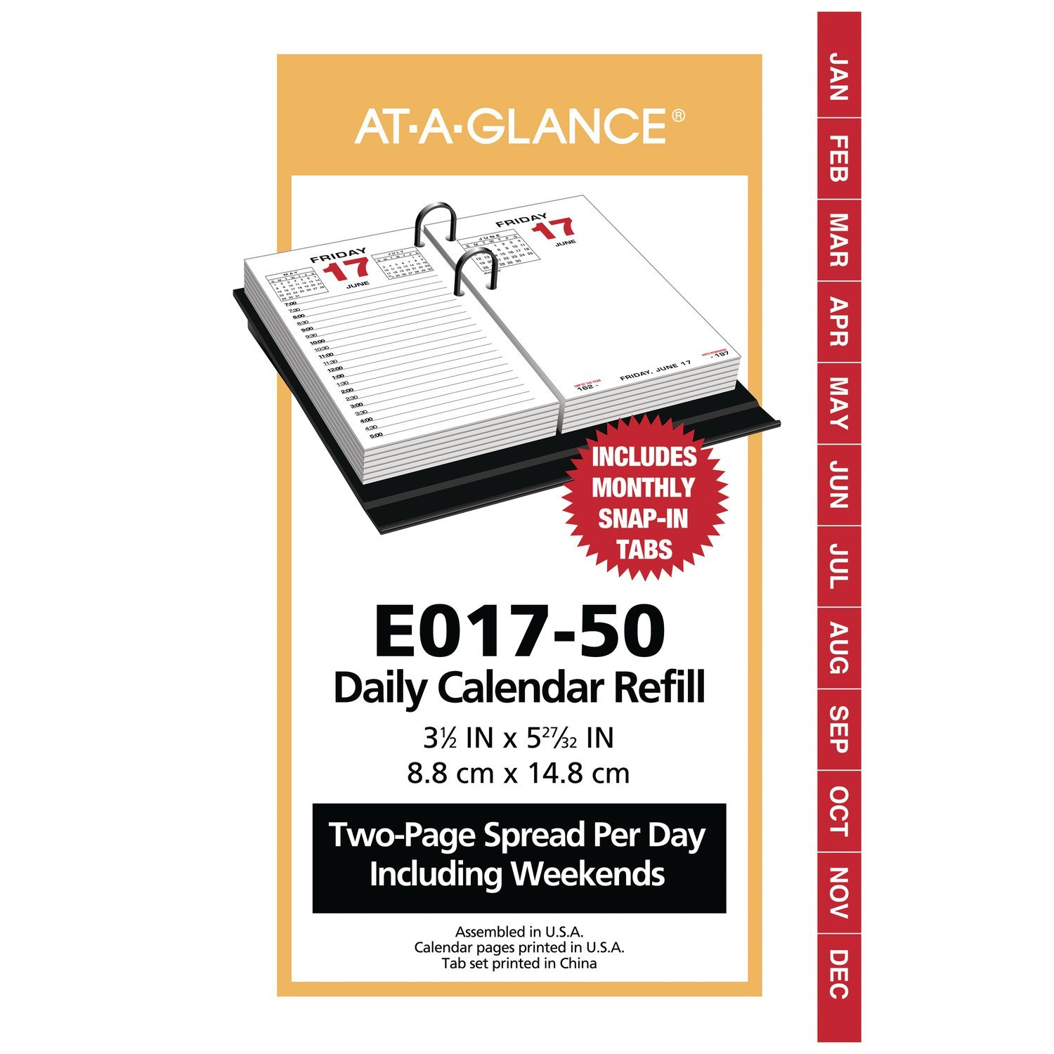 at-A-Glance Daily Desk Calendar Refill, January 2019 - December 2019, 3-1/2'' x 6'', Loose Leaf (E01750)