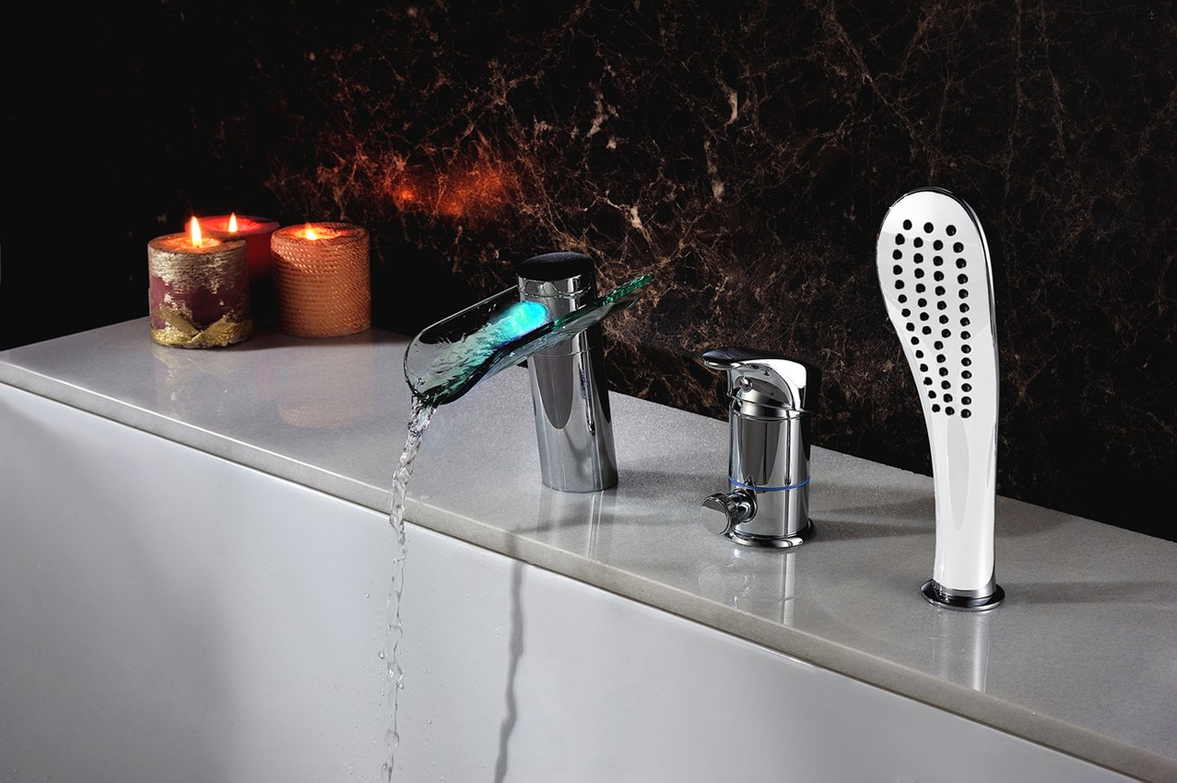 Bathroom Bathtub Faucet LED Waterfall Roman Tub Filler with ...