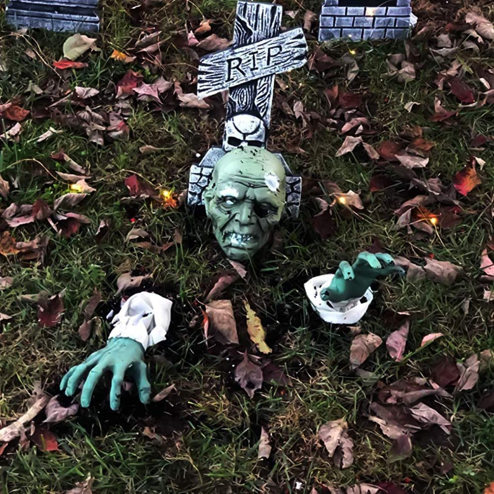 Jamal 3PCS Zombie Halloween Decorations, Zombie Face and Arms, Lawn Stakes, for Halloween Yard Graveyard Outdoor Home Décor