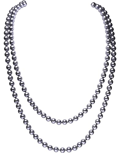 69d8d3822 Amazon.com: BABEYOND Art Deco Fashion Faux Pearls Necklace 1920s Flapper  Beads Cluster Long Pearl Necklace for Gatsby Costume Party 59
