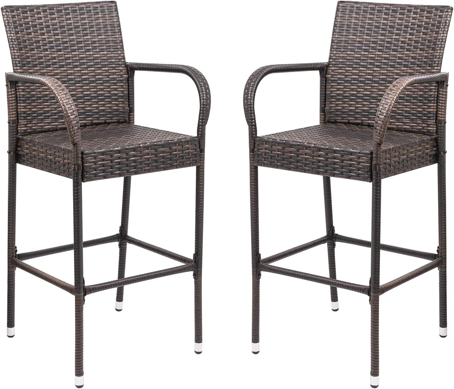 Homall Patio Bar Stools Wicker Barstools Indoor Outdoor Bar Stool Patio  Furniture with Footrest and Armrest for Garden Pool Lawn Backyard Set of 9  ...