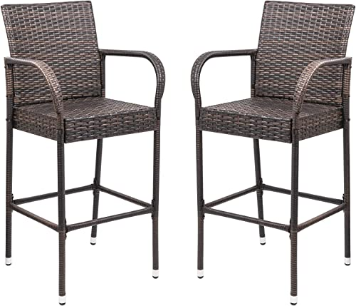 Homall Patio Bar Stools Wicker Barstools Indoor Outdoor Bar Stool Patio Furniture with Footrest and Armrest for Garden Pool Lawn Backyard Set of 2 Brown