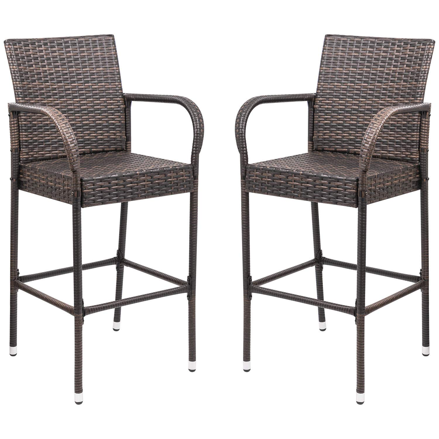 Homall Patio Bar Stools Wicker Barstools Indoor Outdoor Bar Stool Patio Furniture with Footrest and Armrest for Garden Pool Lawn Backyard Set of 2 (Brown) by Homall