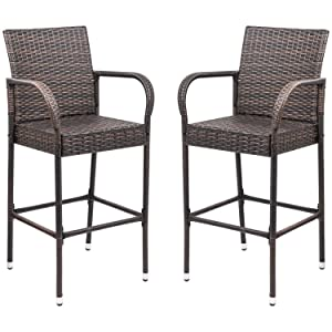Homall Pation Bar Stool Wicker Bar StoolS Indoor Outdoor Use Outdoor Bar Stools with Footrest and Armrest for Garden Pool Lawn Backyard Pation Furniture(Set of 2 Brown)