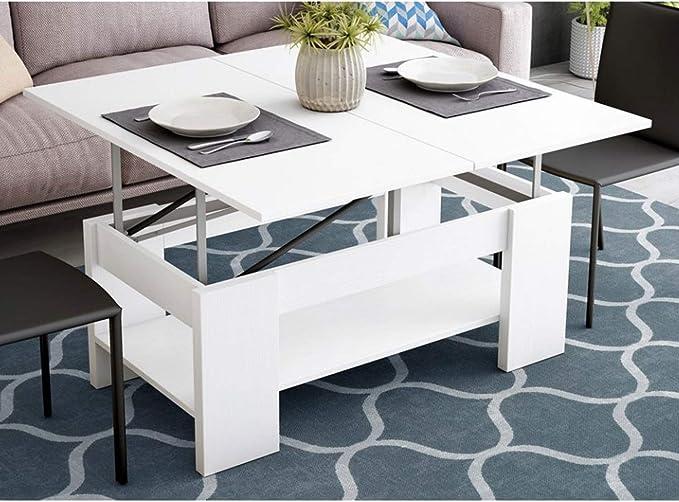 Muebles Baratos Mesa de Centro Convertible en Comedor, Color Blanco, ref-05a: Amazon.es: Hogar