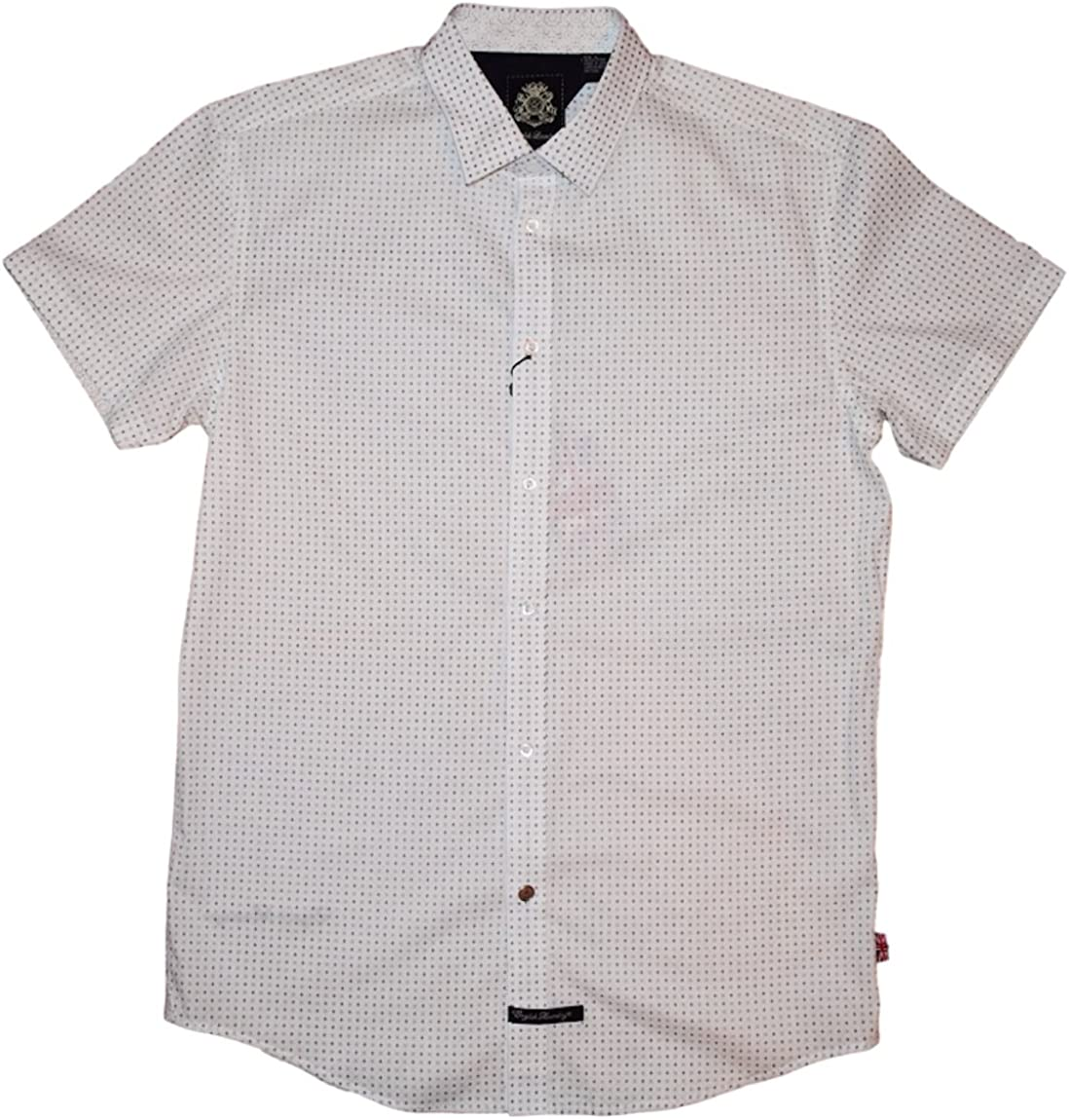 English Laundry Short Sleeve Woven Trim Fit Shirt