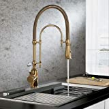 KunMai Single Handle High Arc Swiveling Dual-Mode Pull-Down Sprayer Kitchen Sink Faucet with Porcelain Handle in Polished Gol
