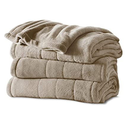 Sunbeam Heated Blanket | Microplush, 10 Heat Settings, Mushroom, Twin