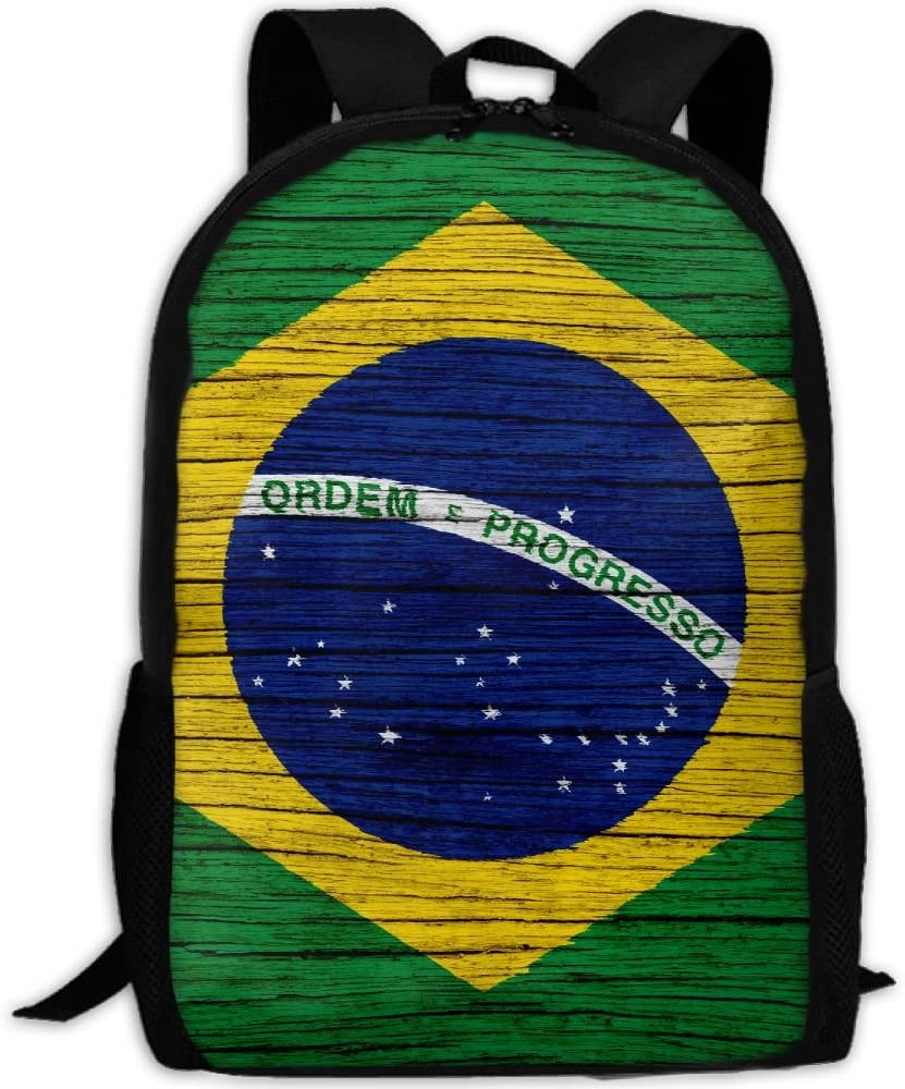 Wooden Texture Brazilian Flag Adult High School University Multi-function Mini Casual Outdoor Travel Backpack 15.6 15 17 Laptop Computer Bag Pocket Zipper