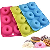 (3 Pack) Silicone Doughnut Mould, Masstimo 6 Cavity Non-Stick Safe Baking Tray Maker Pan Heat Resistance Donut Molds for Cake Biscuit Bagels Muffins-Blue, Pink and Green