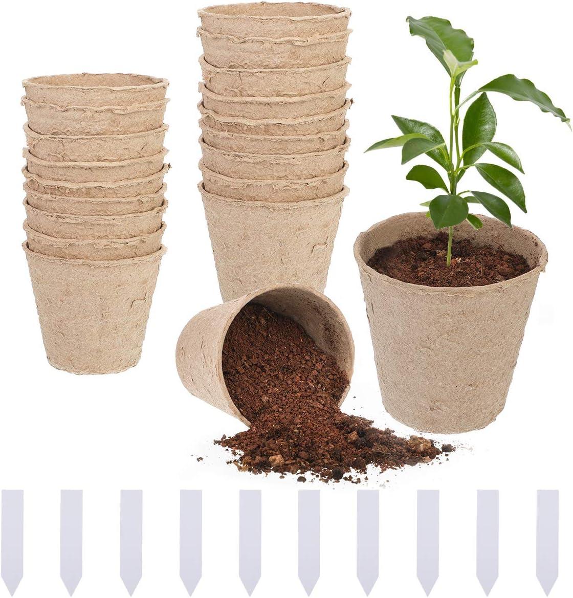 Litthing 20 Pcs Macetas Biodegradables para Flores Planta Semilleros Pote con Etiquetas Macetas de Turba para Plántulas Jardinería Plantas Botes Ecológicas