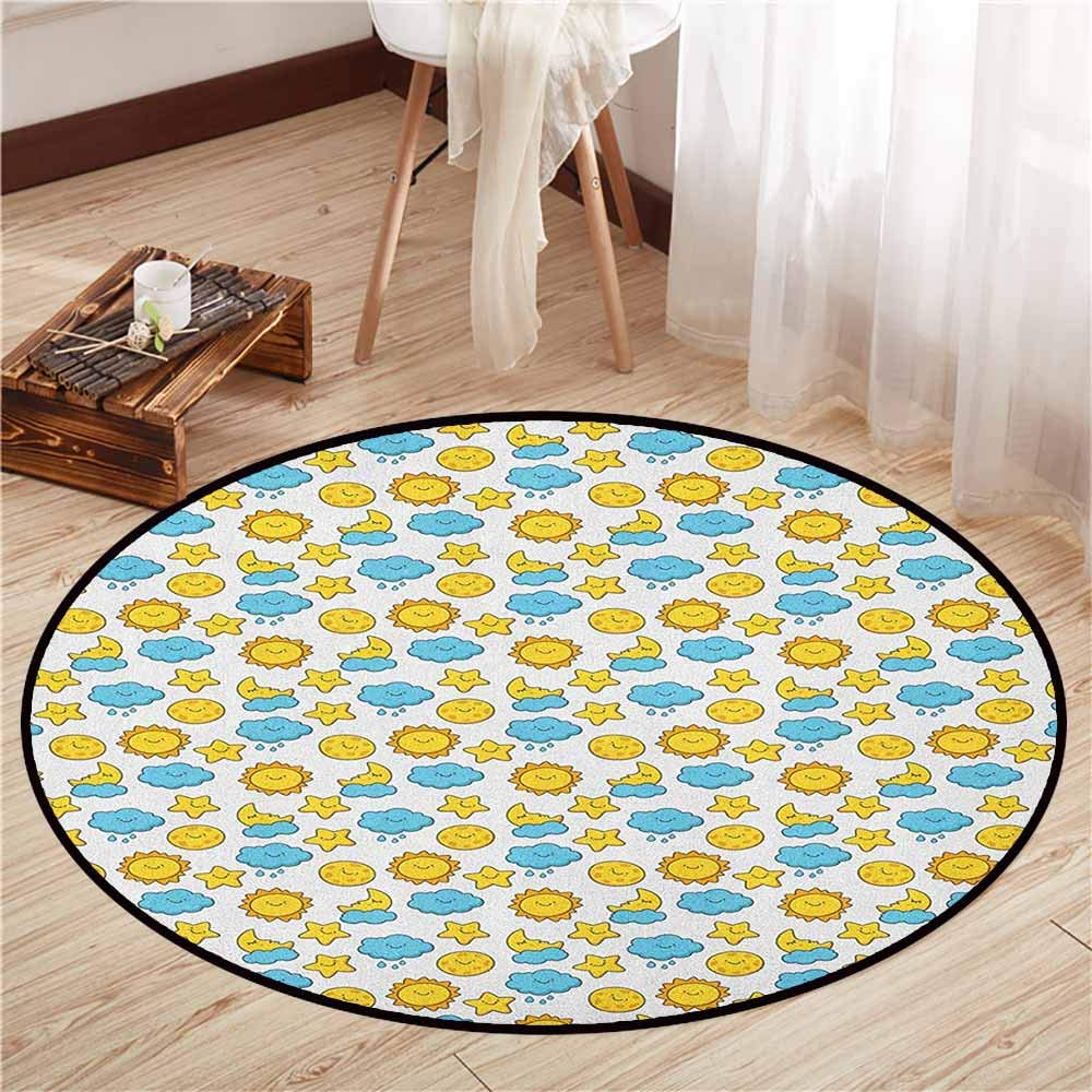 "Round Carpet,Baby,Sleepy Morning and Night for Kids Boys Girls Moon Rainy Clouds Stars Sun,Children Bedroom Rugs,4'11"" Earth Yellow Sky Blue"