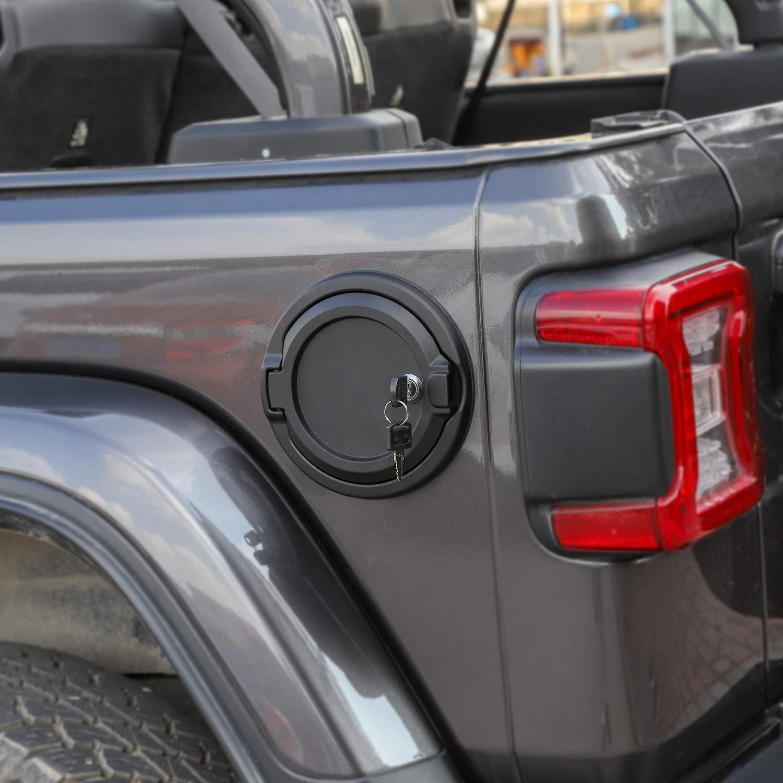 Gas Cap Cover Fuel Door with Lock for 2018 2019 Jeep Wrangler JL /& Unlimited Sport Rubicon Sahara 2-Door 4-Door