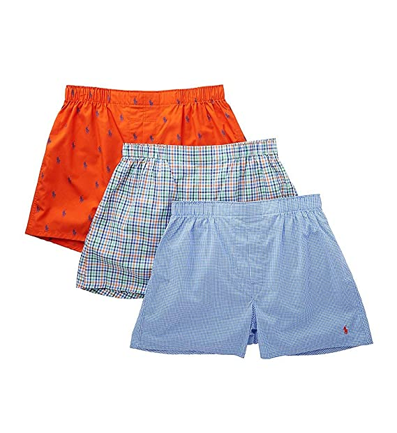 Classic Boxers Lauren Polo Men's 3 Packaged Fit Ralph Woven WD29HEI