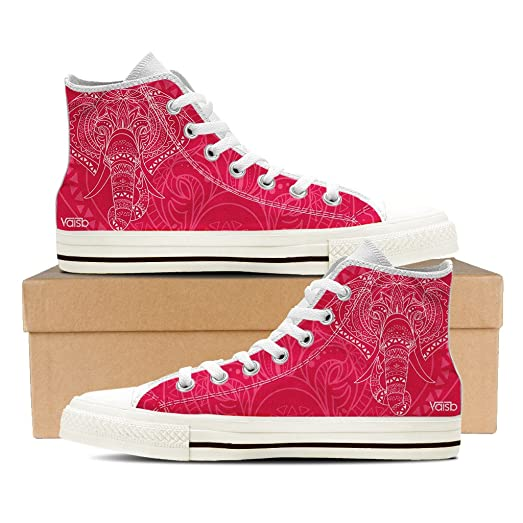 Elephant - Womens High Top White Canvas Sneakers
