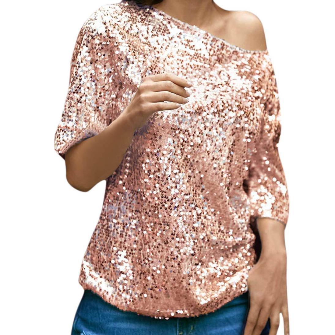 Fheaven Womens Sequins Sparkle Half Sleeve Oblique Casual Party Top T-Shirt Blouse (XL, Pink)